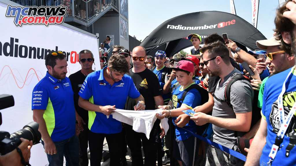 Iannone signed autographs for fans