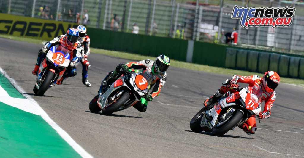 Matteo Ferrari leads Maximilian Scheib and Roberto Tamburini