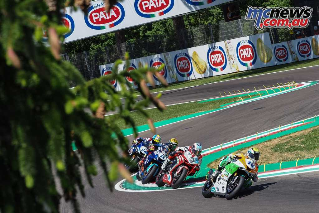 Cluzel leading the World Supersport field at Imola