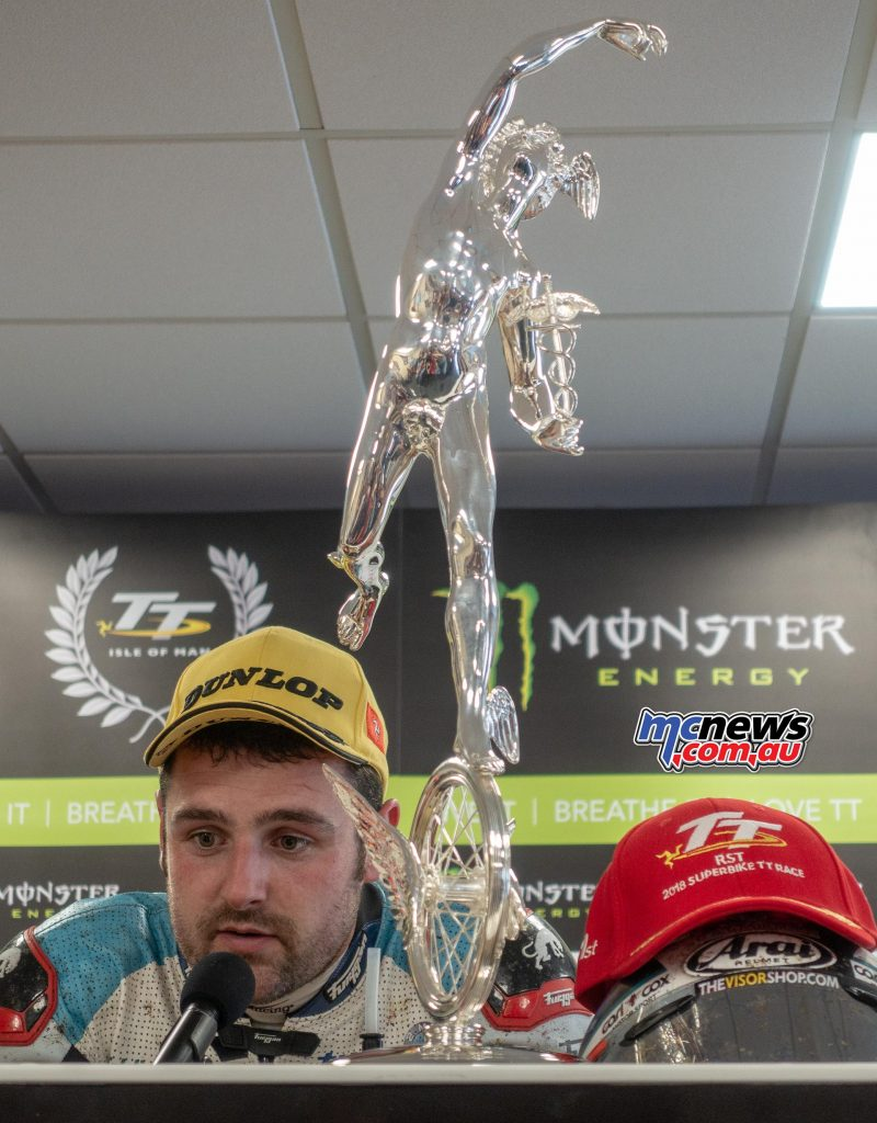 Michael Dunlop at the press conference with his RST Superbike Trophy - Image Trevor Hedge
