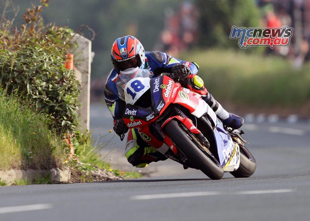 Ivan Lintin (Kawasaki/Dafabet Devitt Racing) at Rhencullen during Thursday evening's Isle of Man TT qualifying session.