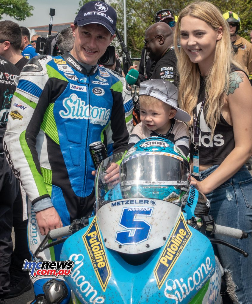 Dean Harrison and family in Parc Ferme