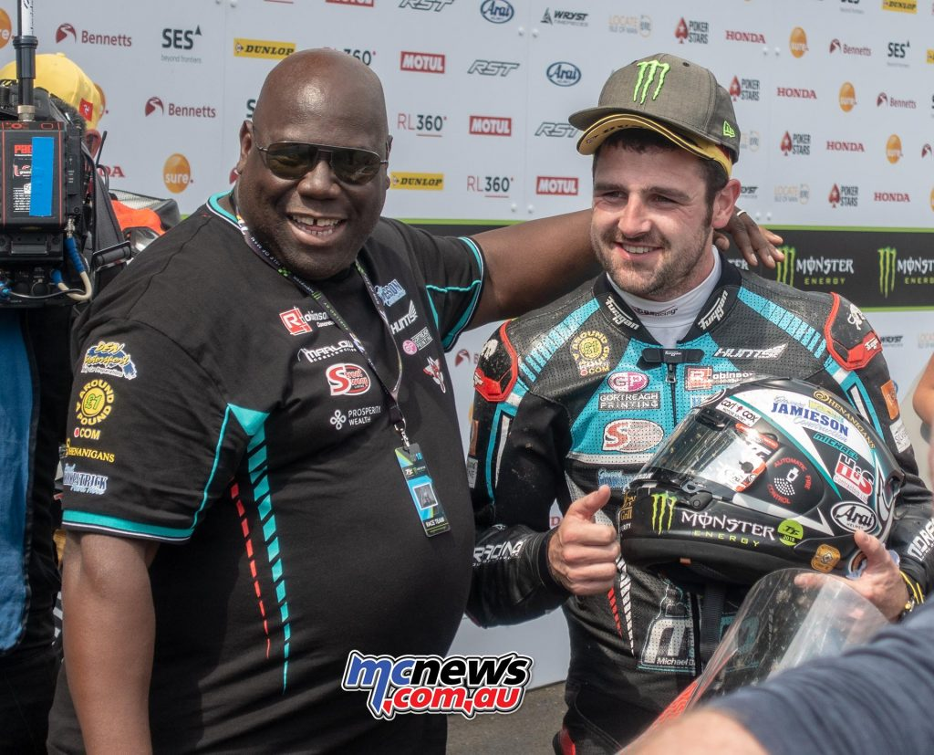 Michael Dunlop with Team sponsor Carl Cox
