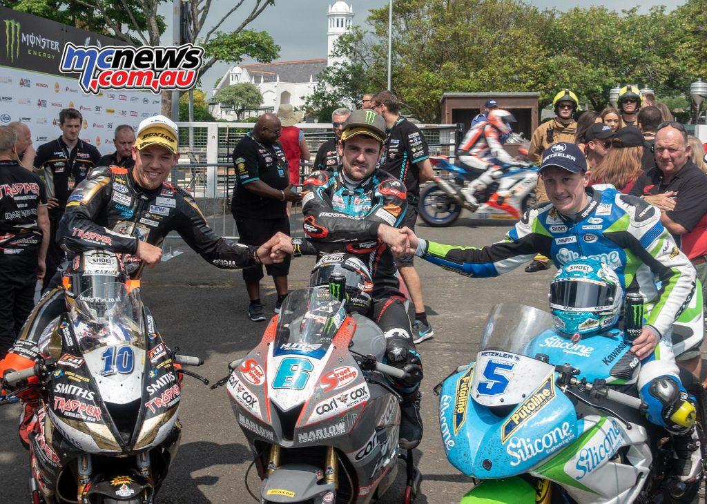 Supersport TT 2018 - Race One Results Michael Dunlop - Honda - 1:11:51.07 Dean Harrison - Kawasaki - 1:12:01.350 Peter Hickman - Triumph - 1:12:01.608