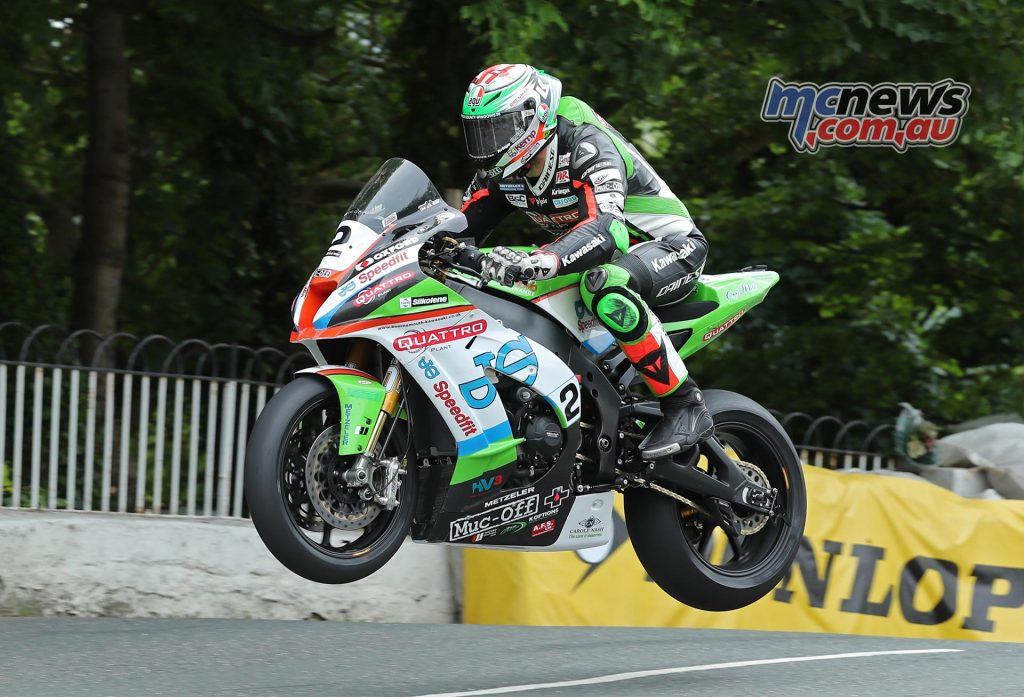 James Hillier (Kawasaki/Quattro Plant JG Speedfit Kawasaki) at Ballaugh Bridge during the RST Superbike TT race - Image by Dave Kneen