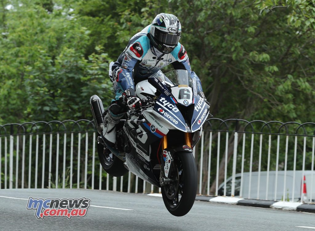 Michael Dunlop (BMW/Tyco BMW) at Ballaugh Bridge during the RST Superbike TT race. Image Dave Kneen