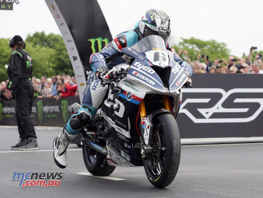 Michael Dunlop blasts off the line in the RST Superbike race