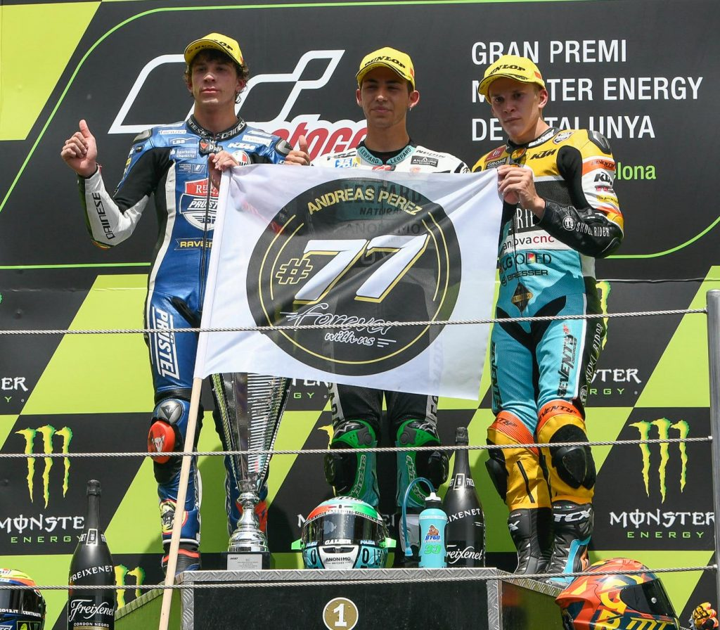 Moto3 Race Results Enea Bastianini (ITA) Honda 38'36.883 Marco Bezzecchi (ITA) KTM +0.167 Gabriel Rodrigo (ARG) Honda +0.170
