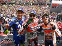 MotoGP 2018 - Round Seven - Catalunya - Results Jorge LORENZO Ducati Team 40'13.566 Marc MARQUEZ Repsol Honda Team +4.479 Valentino ROSSI Movistar Yamaha MotoGP +6.098