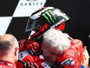 An ecstatic Lorenzo embraced by Luigi Dall'Igna - Image by AJRN