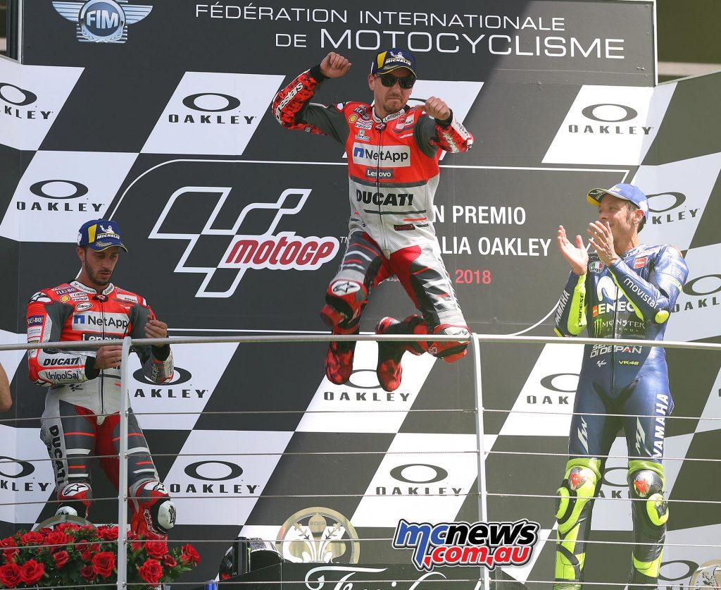Mugello MotoGP Race Results LORENZO Jorge SPA Ducati 41'43.230 DOVIZIOSO Andrea ITA Ducati 6.370 ROSSI Valentino ITA Yamaha 6.629