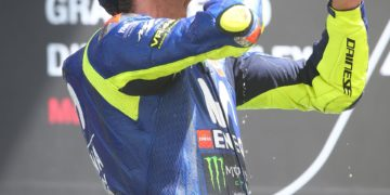 Rossi celebrating his hard fought podium - Image by AJRN