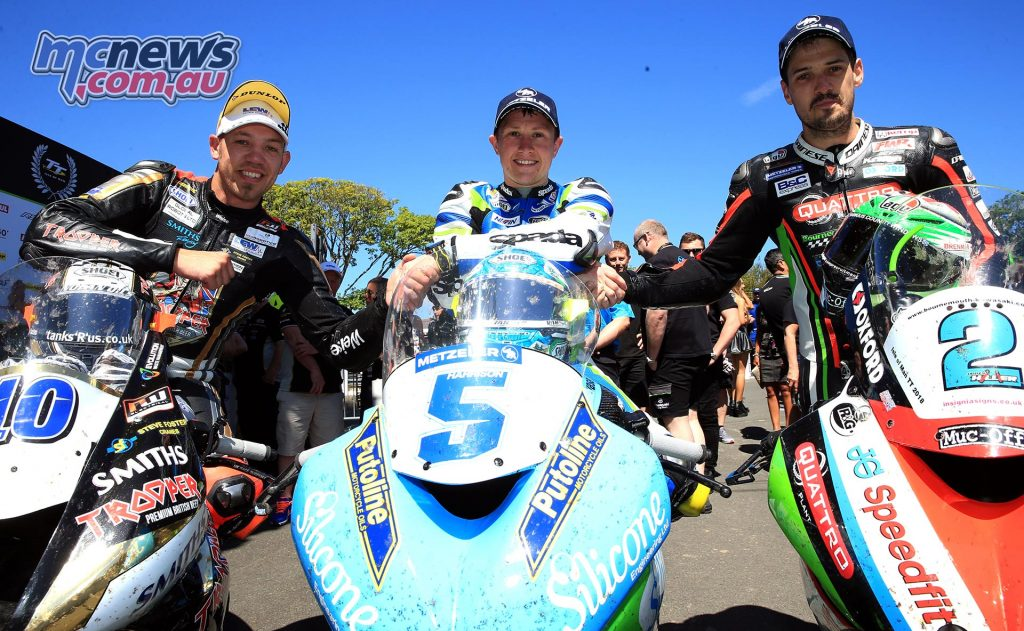 2018 Supersport TT Race Two Podium - Dean Harrison 1st - Peter Hickman 2nd - James Hillier 3rd