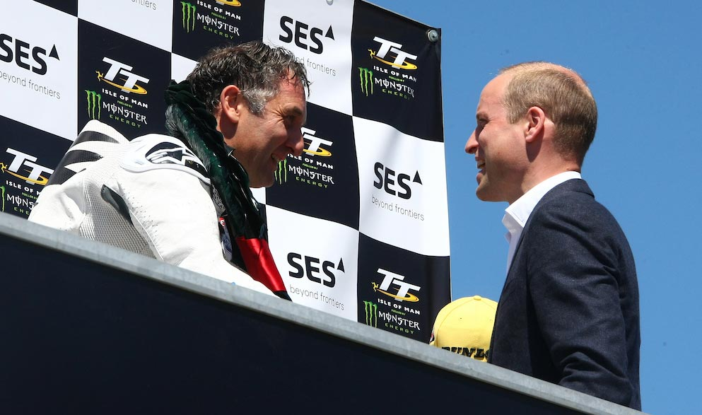 Michael Rutter receives his winner's trophy from HRH Prince William