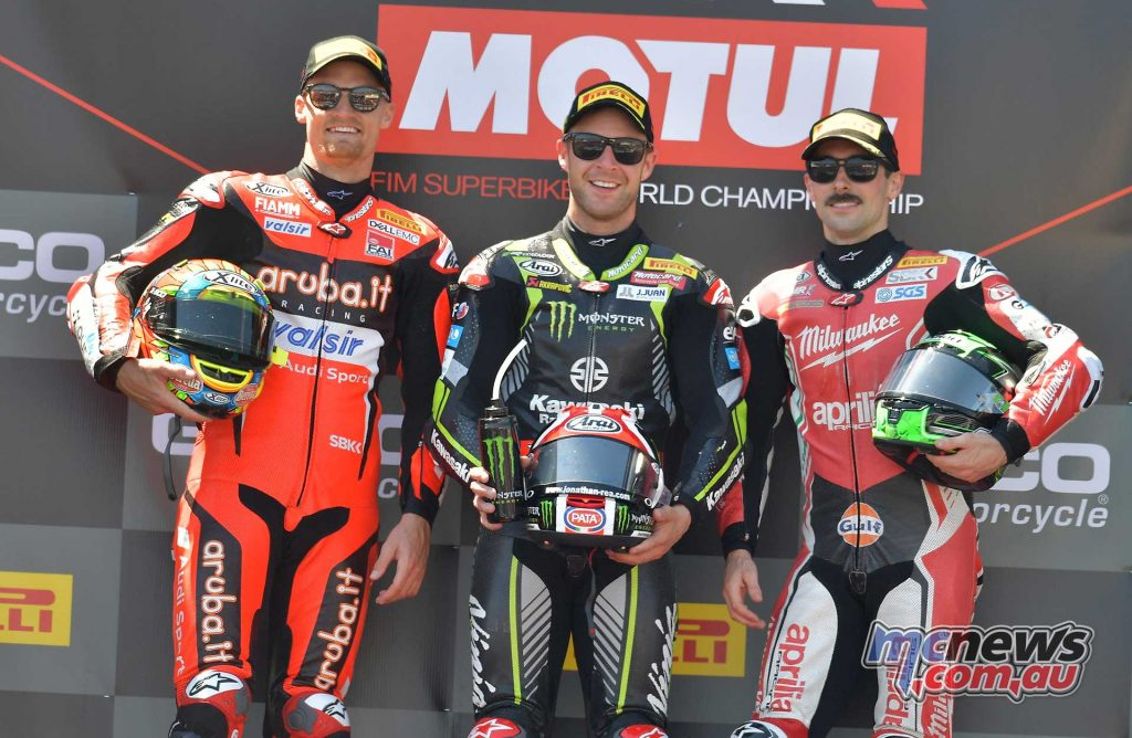 WSBK Laguna Seca Race Podium Rea Davies Laverty