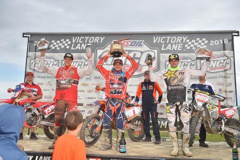 GNCC Podium - Bollinger, Russell, Duvall - Image by Ken Hill