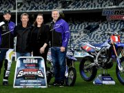 Dean Ferris (far left), Troy Bayliss (2nd from the left), Kardinia Park's Natalie Valentine (2nd from the right) and Craig Dack (far right) inside the GMHBA Stadium