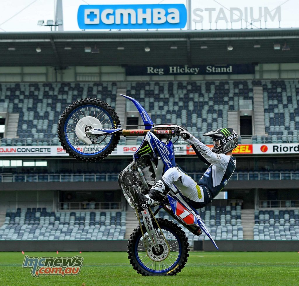 CDR Yamaha Monster Energy factory rider Dean Ferris showing the media some of what will be on hand October 13th at GMHBA Stadium