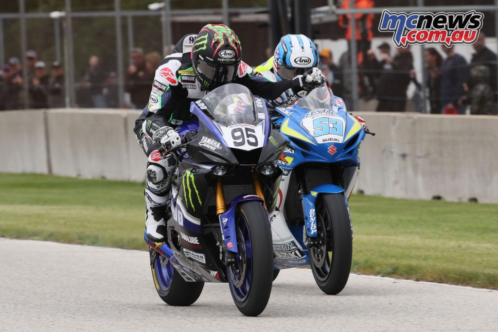 Sunday again saw JD Beach and Valentin Debise battling for the Supersport win