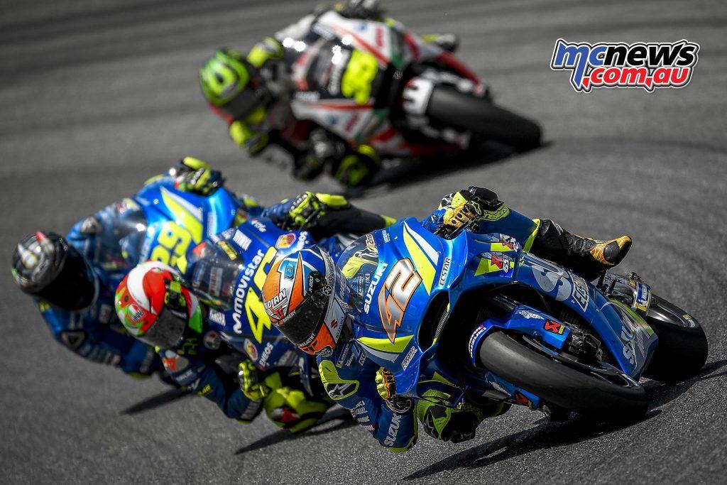 Mugello MotoGP - Alex Rins leading Rossi and Iannone