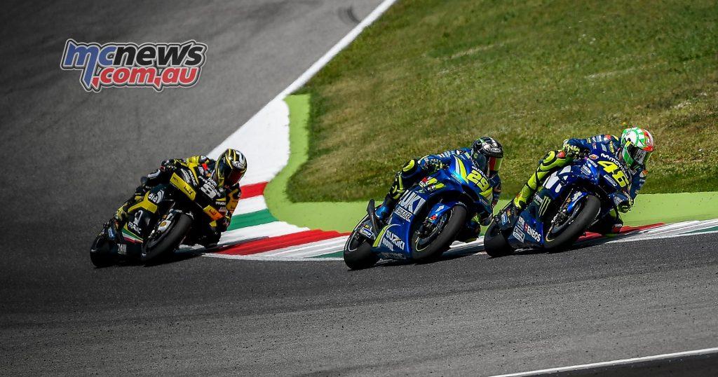 Danilo Petrucci chasing Andrea Iannone and Valentino Rossi - Mugello 2018