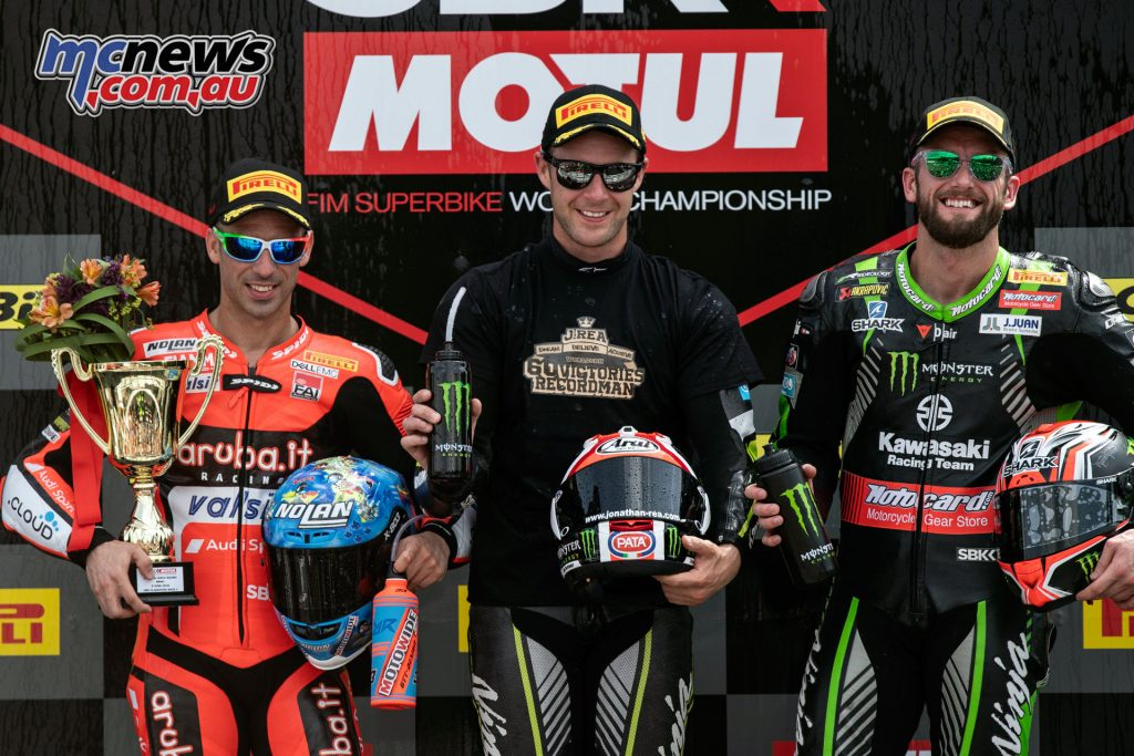 Rea took his record breaking win at Brno with Melandri and Sykes sharing the podium