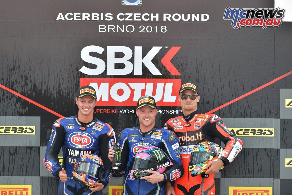 WorldSBK 2018 - Round 7 Brno - Race 2 - Podium, van der Mark, Lowes, Davies