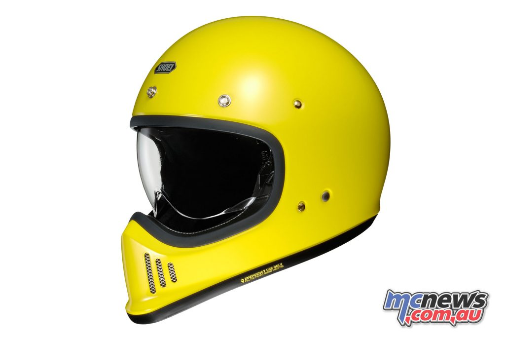 Shoei's EX-Zero Helmet is available in a range of solid colours with all featuring studs