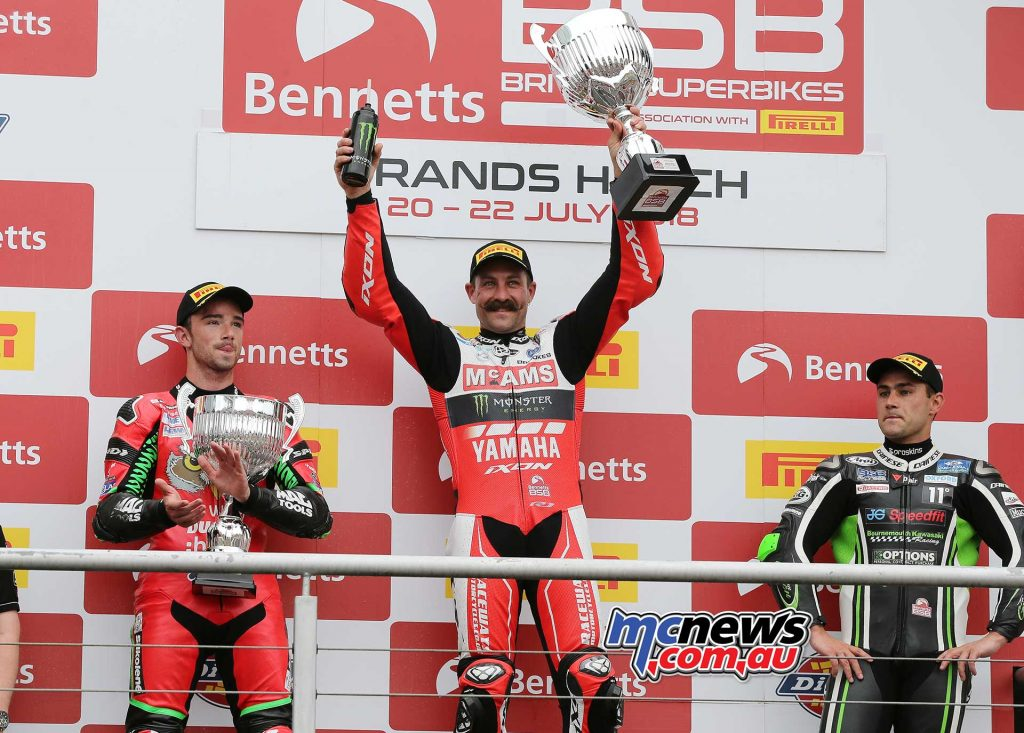 BSB Brands Hatch Josh Brookes with complete podium ImageDYeomans