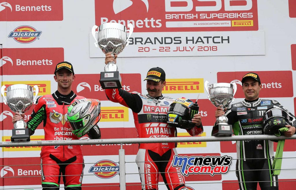 BSB Brands Hatch Josh Brookes with trophies ImageDYeomans