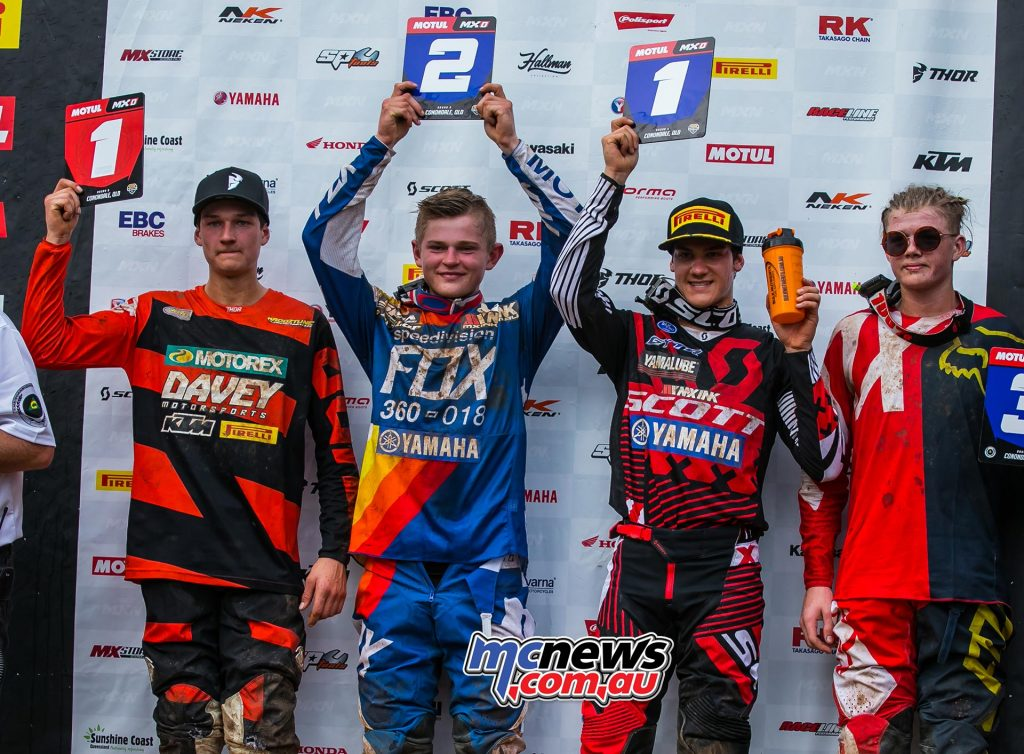 MX Nationals Rnd Conondale MXD Race Winners McKay Ellis Rowe ImageByScottya