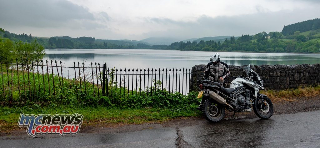 Triumph Explorer XCa Brecon Beacons Llwyn on Reservoir