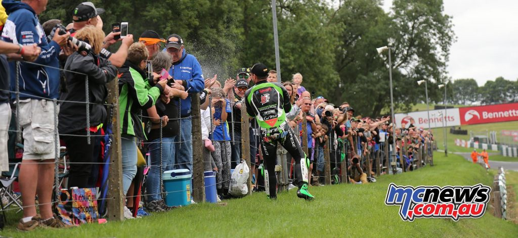 BSB CadwellPark Leon Haslam showers the crowd