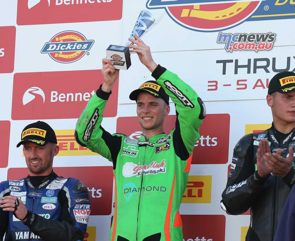 BSB Rnd Thruxton Ben Currie takes winners trophy Image DYeomans