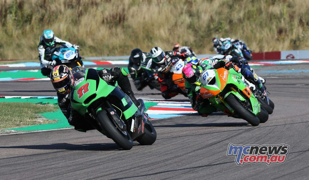 BSB Rnd Thruxton Kyle Ryde leads Ben Currie Image DYeomans