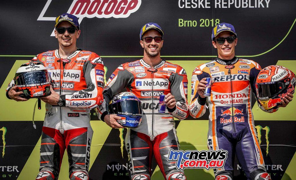 MotoGP Brno Rnd Podium Dovi Lorenzo Marquez