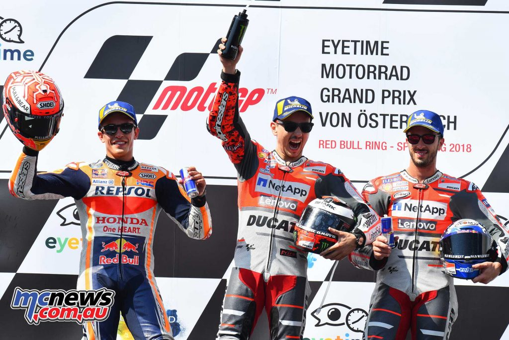 MotoGP Rnd Austria RaceMichelin Podium Lorenzo Marquez Dovi