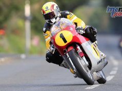 Ian Lougher (500 MV Agusta/John Chapman Racing) at Douglas Road Corner, Kirk Michael - Image by Dave Kneen