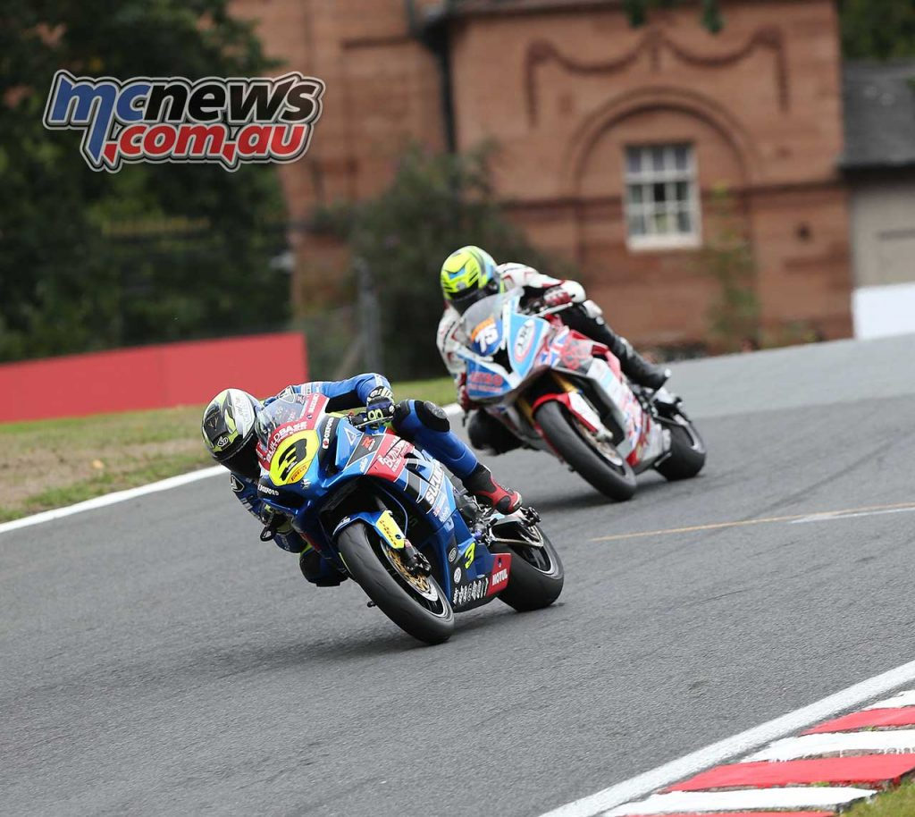 BSB Showdown Oulton Park Billy McConnell leads from Alex Olsen ImageDyeomans