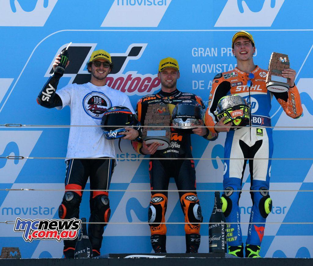 MotoGP Aragon Moto Brad Binder Podium