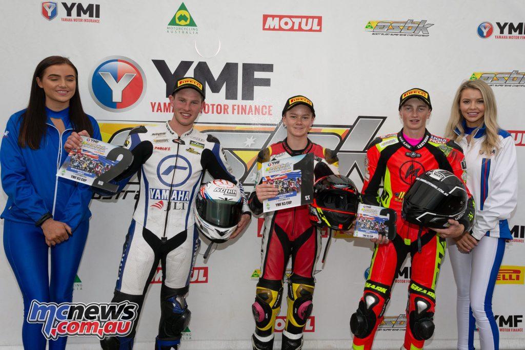 ASBK TBG Rnd Winton Yamaha R Cup Overall Podium