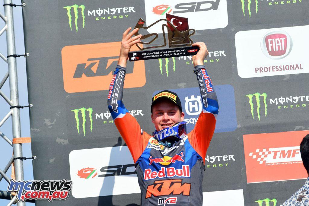 MXGP Rnd Afyon Turkey Pauls Jonass on the podium