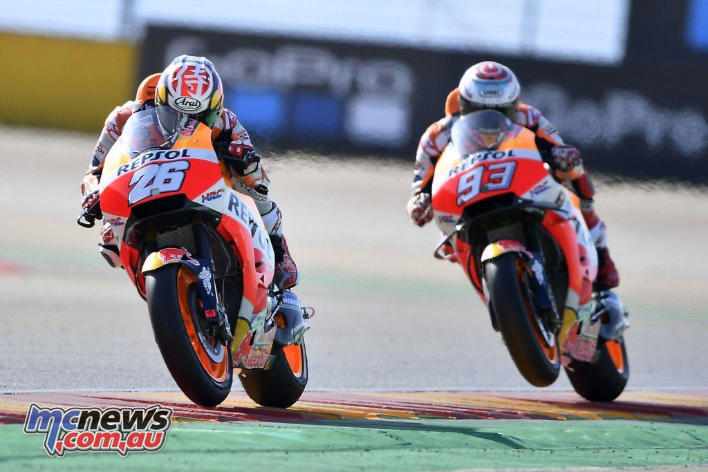 MotoGP Aragaon Rnd Sat Dani Pedrosa and Marc Marquez