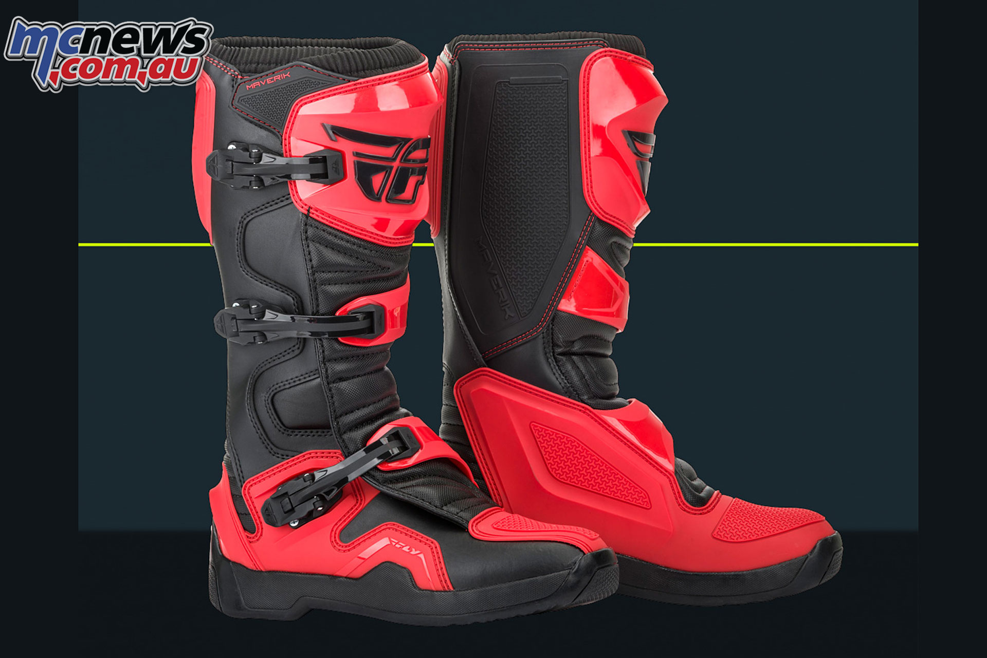 RED//BLACK 9 Fly Racing 2019 Maverik Boots