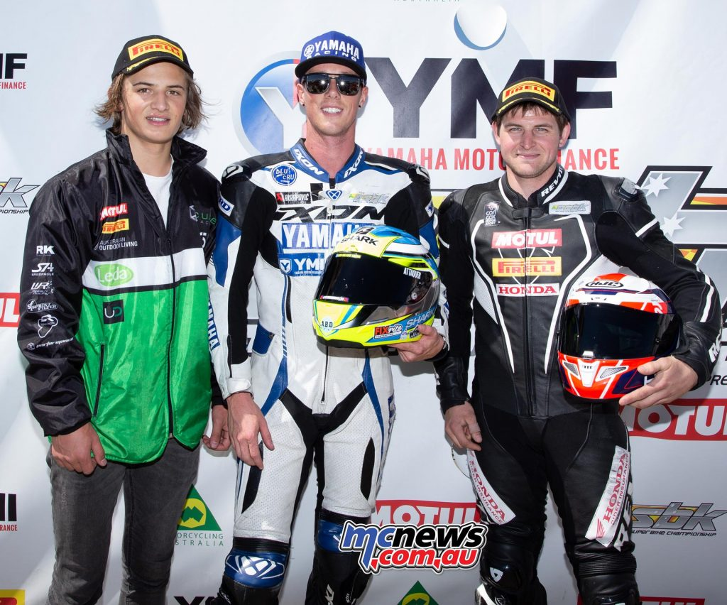 ASBK TBG Rnd Phillip Island Supersport Podium Halliday Toparis Rees TBG