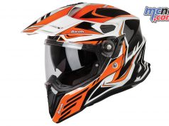 Airoh Commander Adventure Helmet Carbon Orange Gloss Left Side Angle