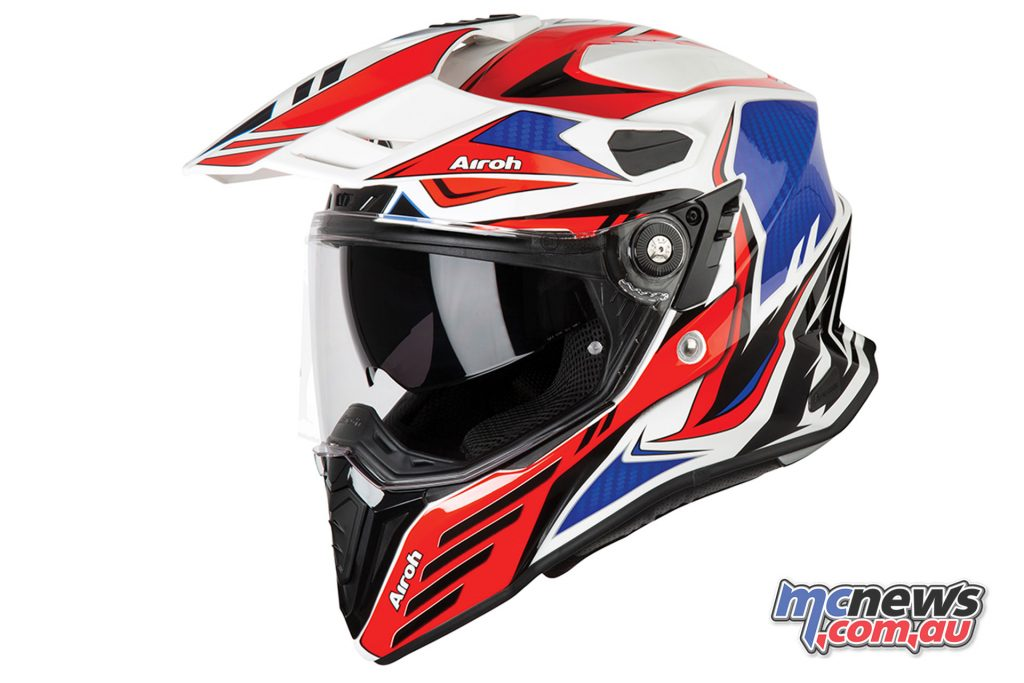 Airoh Commander Adventure Helmet Carbon Red Gloss Left Side Angle