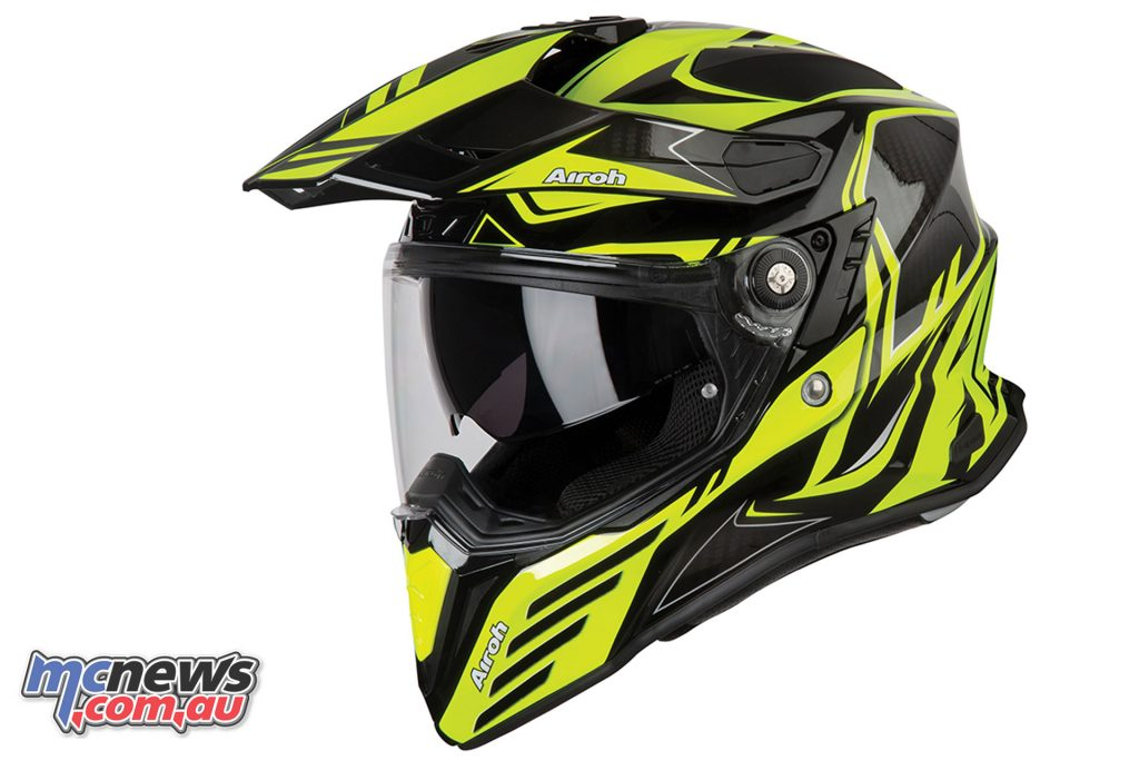 Airoh Commander Adventure Helmet Carbon Yellow Gloss Left Side Angle