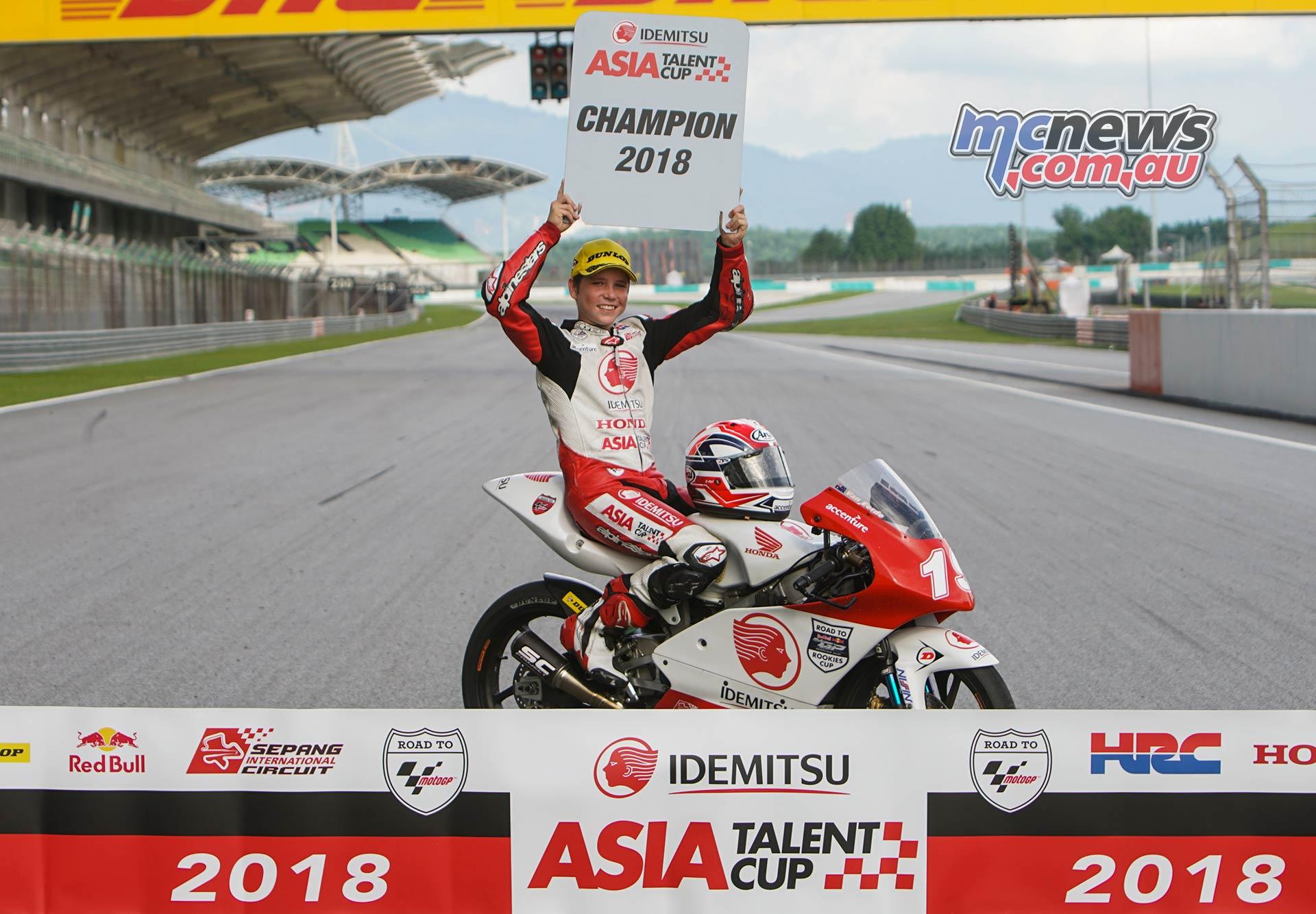 Asia Talent Cup Billy Van Eerde Champ sign