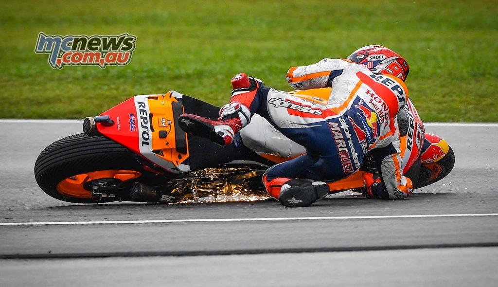 MotoGP Malaysia QP Marquez Crash